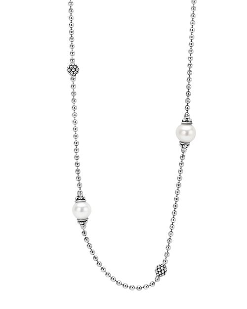 """LAGOS - Sterling Silver Luna Cultured Freshwater Pearl Station Necklace, 18"""""""