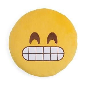 Throwboy Grin Emoji Decorative Pillow, 14 Diameter