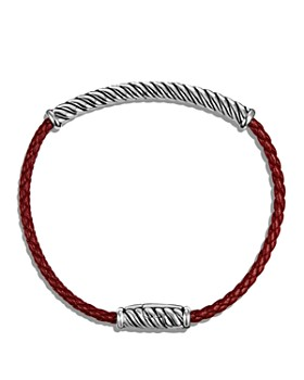 David Yurman - Cable Leather Bracelet in Red