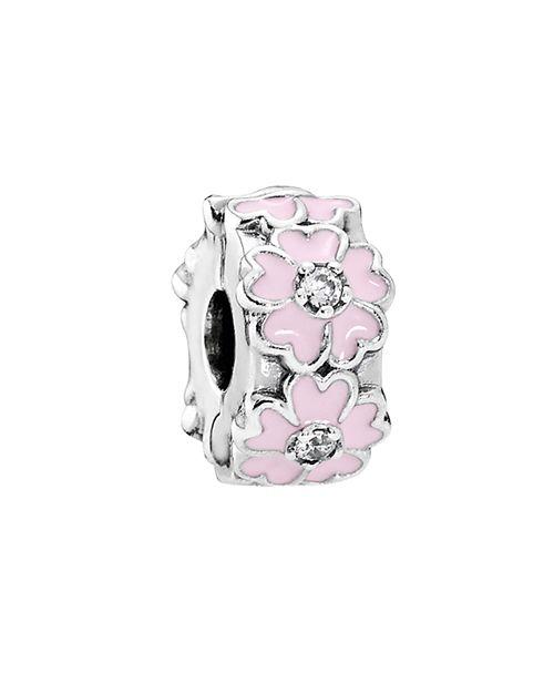 PANDORA - Sterling Silver, Cubic Zirconia & Enamel Pink Primrose Clip