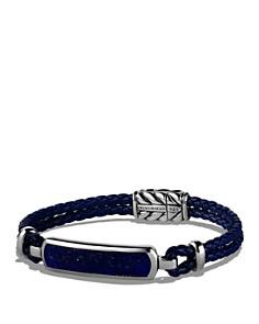 David Yurman - Exotic Stone Station Blue Leather Bracelet with Lapis Lazuli