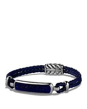 David Yurman - Exotic Stone Station Blue Leather Bracelet with Lapis Lazuli