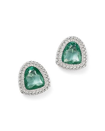 Judith Ripka - Sterling Silver Margot Stud Earrings with Paraiba Spinel