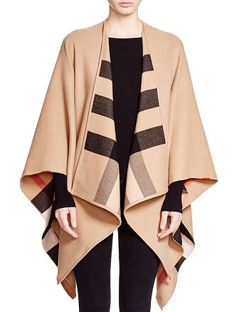 Burberry - Charlotte Reversible Solid to Check Wool Cape