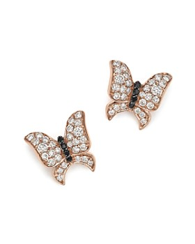Bloomingdale's - White and Black Diamond Butterfly Stud Earrings in 14K Rose Gold - 100% Exclusive