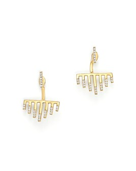 MATEO - 14K Yellow Gold Bar Graph Earrings with Diamonds