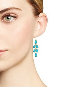 IPPOLITA - 18K Yellow Gold Rock Candy® Cascade Teardrop Earrings with Turquoise