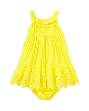 Ralph Lauren Childrenswear Infant Girls' Lace-Trimmed Crinkle Dress and Bloomers Set - Sizes 3-24 Months