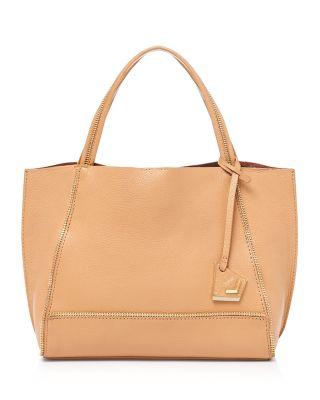 Soho Bite Size Leather Tote in Camel/Gold