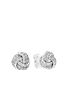 Pandora -  Sterling Silver & Cubic Zirconia Sparkling Love Knot Stud Earrings