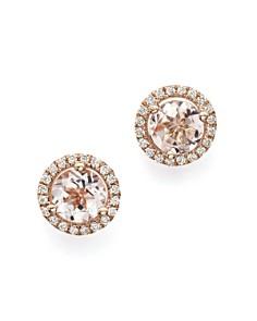 Bloomingdale's - Morganite and Diamond Stud Earrings in 14K Rose Gold - 100% Exclusive
