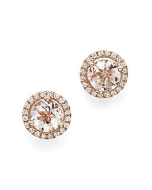 Morganite and Diamond Stud Earrings in 14K Rose Gold - 100% Exclusive