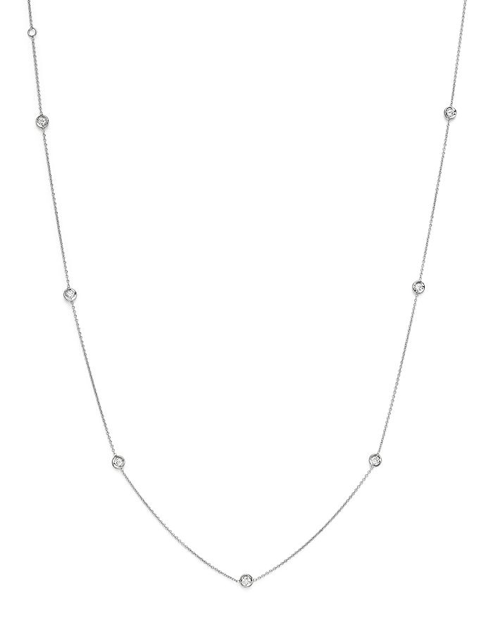 Roberto Coin - 18K White Gold Bezel Diamond Station Necklace, 18""