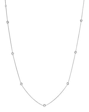 Roberto Coin 18K White Gold Bezel-Set Diamond Station Necklace, 18