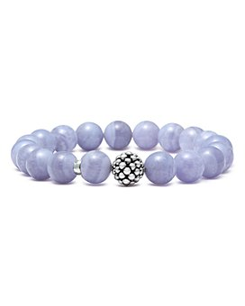 LAGOS - Sterling Silver Caviar Ball Beaded Blue Lace Agate Bracelet, 10mm