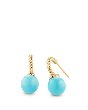 David Yurman - Solari Hoop Earrings with Turquoise in 18K Gold