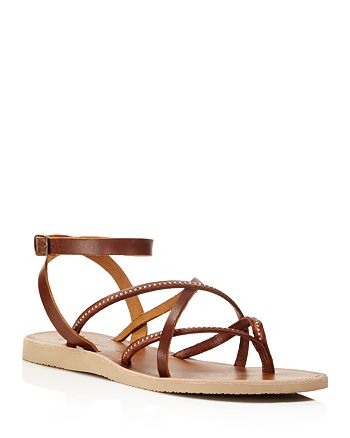Joie - Women's Oda Studded Ankle Strap Flat Sandals