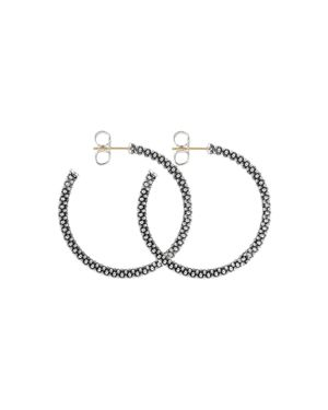 Lagos Beaded Thin Hoop Earrings, Sterling Silver, 35mm