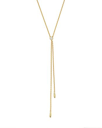 KC Designs - 14K Yellow Gold Diamond Bezel Y Necklace, 16""