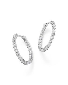 Roberto Coin 18k White Gold Diamond Inside Out Hoop Earrings
