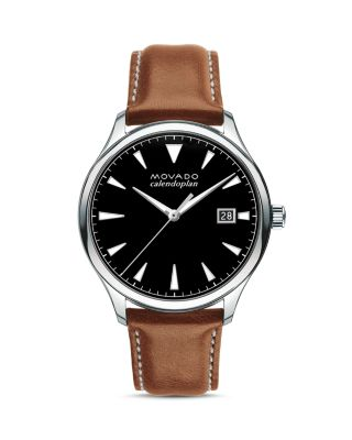 Men'S 40Mm Heritage Calendoplan Watch With Leather Strap in Brown/ Black