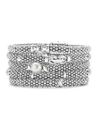 Signature Sterling Silver X Trio Caviar Bracelet