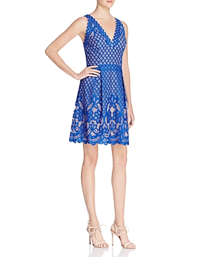 Adrianna Papell Mixed Lace Fit-and-Flare Dress