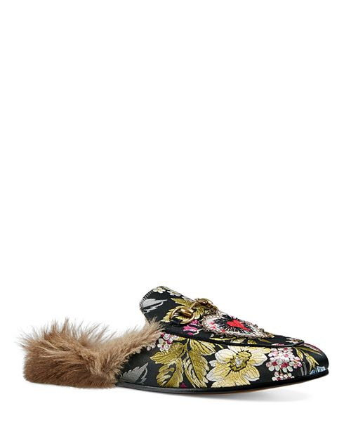 Gucci - Women's Princetown Jacquard and Kangaroo Fur Mules