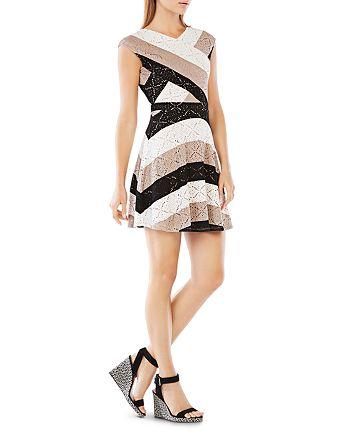 BCBGMAXAZRIA - Jasmyne Striped Lace Dress