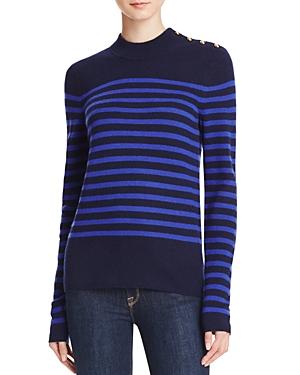 Aqua Cashmere Stripe Mock Neck Cashmere Sweater - 100% Exclusive