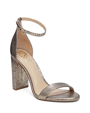 Vince Camuto Mairana Metallic Embossed Ankle Strap High Heel Sandals