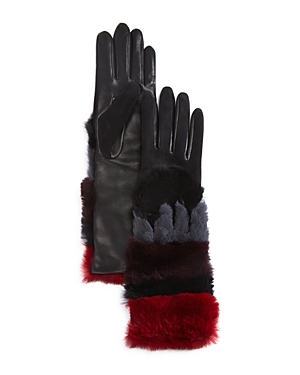 Agnelle Leather Gloves with Rabbit Fur Cuff