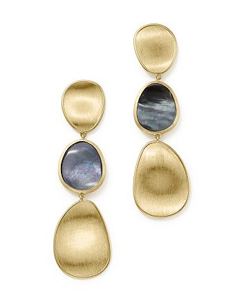 Marco Bicego - 18K Yellow Gold Lunaria Black Mother-Of-Pearl Triple Drop Earrings
