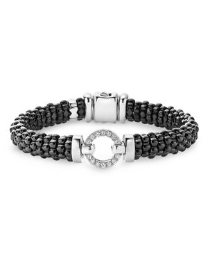 Lagos Black Caviar Ceramic Bracelet with Sterling Silver and Diamonds