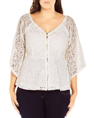 City Chic Lace Bell Sleeve Top