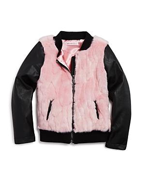Design History Girls' Two Tone Faux Fur & Faux Leather Jacket - Little Kid