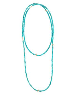 """18K Gold and Turquoise Single Strand Caviar Icon Station Necklace, 34"""""""