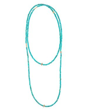 Lagos 18K Gold and Turquoise Single Strand Caviar Icon Station Necklace, 34