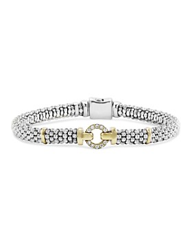 LAGOS - 18K Gold and Sterling Silver Caviar and Diamonds Rope Bracelet, 6mm