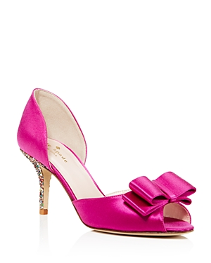 kate spade new york Sela Satin and Glitter Mid Heel Pumps