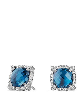 David Yurman - Châtelaine Pavé Bezel Stud Earrings with Hampton Blue Topaz and Diamonds