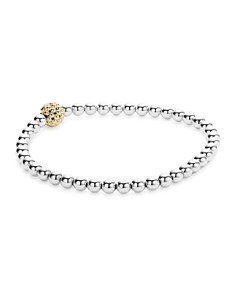 LAGOS - 18K Gold and Sterling Silver Stretch Bracelet with Caviar Icon Ball