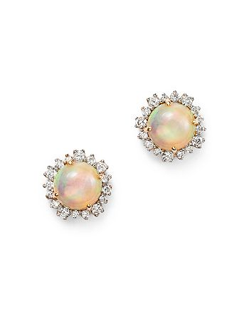 Bloomingdale's - Opal and Diamond Halo Stud Earrings in 14K Yellow Gold  - 100% Exclusive