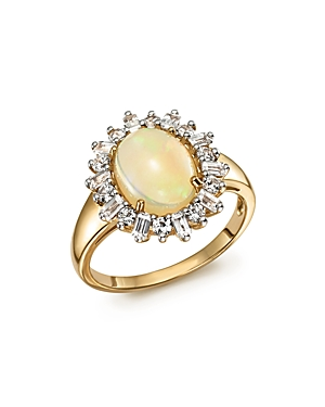 Opal Oval Statement Ring with Diamond Halo in 14K Yellow Gold - 100% Exclusive