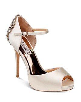 Badgley Mischka - Women's Dawn Embellished Satin Ankle Strap High-Heel Pumps