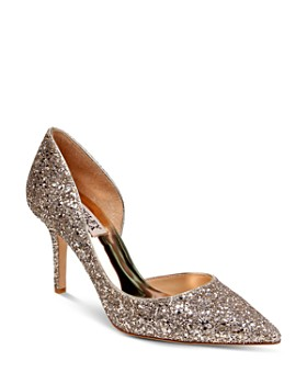Badgley Mischka - Women's Daisy Glitter Half d'Orsay Pointed Toe Pumps