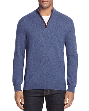The Men's Store at Bloomingdale's Cashmere Suede Trim Half-Zip Sweater