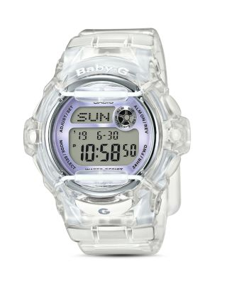 G-SHOCK WOMEN'S DIGITAL CLEAR RESIN STRAP WATCH 45X42MM BG169R-7E
