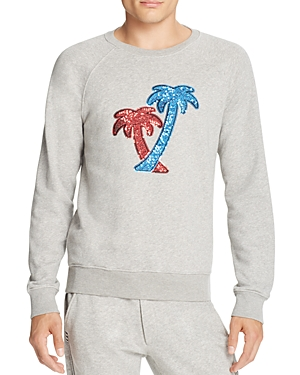 Marc Jacobs Sequined Palm Trees Heathered Sweatshirt