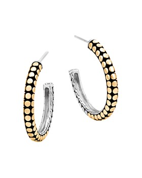 John Hardy - 18K Yellow Gold and Sterling Silver Dot Small Hoop Earrings